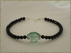 Faceted Black Onyx featuring Fluorite Focal Piece (http://www.shani-jewelry-designs.com) Tags: black necklace handmade jewelry faceted piece onyx featuring fluorite focal