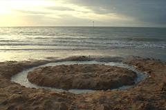 Circle. (DJ Bass) Tags: uk sea seascape art beach circle landscape kent seaside sand tide pole coastal sandart playingwithwater coastalelectronica shapingnature