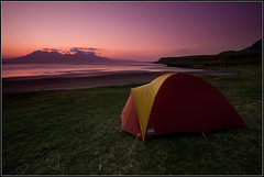Camping on Eigg (Ally Mac) Tags: uk camping sleeping sea camp beautiful night dark landscape evening coast scotland skies britain dusk dramatic scottish tent backpacking stunning pitch british remote lonely rum wilderness westcoast 2009 beech clearsky gloaming eigg isleofeigg smallisles