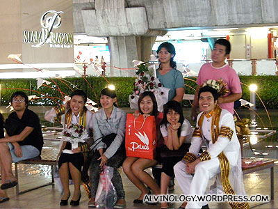 Fresh university graduates taking photos outside Siam Paragon