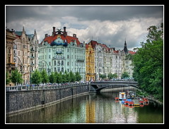 Prague river reflections (Mike G. K.) Tags: road street old bridge houses people cars water colors ar