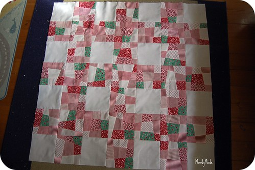 Crazy nine-patch lattice quilt top