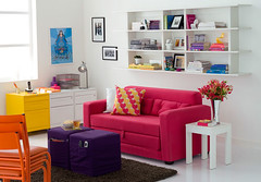 Decorao: Sala Colorida (Jessica Santin (Jehhhhh)) Tags: pink de living room decoration sala decorao sof estar tok mveis stok prateleira pufe coloridos