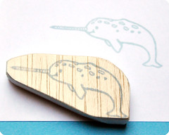 Big narwhal hand carved rubber stamp