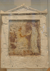 Painted Limestone Funerary Stele with Seated Man and Two Standing Figures (griannan) Tags: 2009 funerary loh metmuseum greekandromangalleries opalartseekers4 WLA:org=metmuseum WLA:cat=1 WLA:team=opalartseekers4