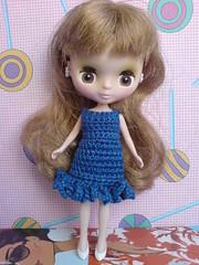 Petite Blythe Crochet Dress little wave in blue