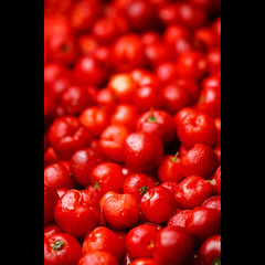 Vitamina aCerola. (Fernando Delfini) Tags: lighting light red food blur macro fruit canon studio photography still focus dof sopaulo c flash comida deep fruta health sampa sp fernando sharpen fotografia hazy acerola 2009 softbox vitamina strobe brasileira vitamin delfini sade alimentao 100mmf28 strobist fernandodelfinicom