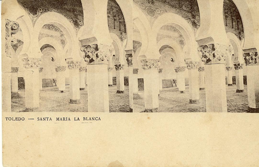 Fotografía estereoscópica de Toledo. Santa María la Blanca