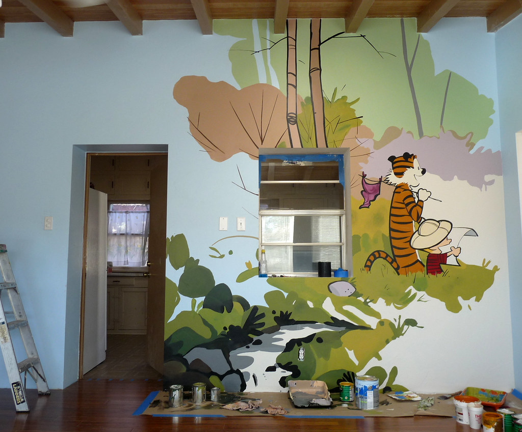 calvin hobbes playroom mural yes please pics. Black Bedroom Furniture Sets. Home Design Ideas