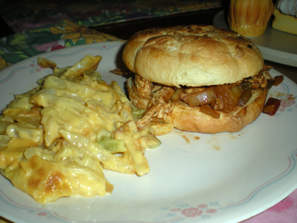 Crockpot Barbeque Chicken Sandwiches and French Fried Potato Casserole