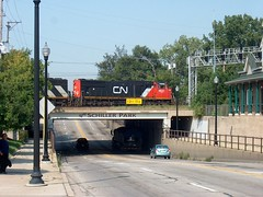 Northbound Canadian National freight train on top of the Irving Park Road viaduct. Schiller Park Illlinois. August 2006.