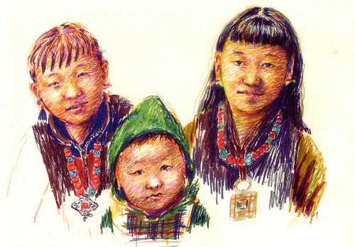 ネパールで暮らすチベットの子供たち(絵:下田昌克 2006.8)