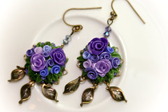 persian rose garden earrings (Chili Crab) Tags: roses summer green one spring chili handmade ooak earring violet crab jewelry kind fimo lilac clay valentines etsy brass 2009 filigree polymer swarovsky