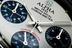 Alpha Daytona Paul Newman dial macro #2 (GuySie) Tags: red white black macro silver logo paul hands dial font alpha daytona homage newman rolex chronograph strobist subdials