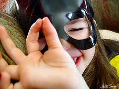 "As she says: ""Batman girl"" (talitasouza) Tags: cute eye halloween girl face canon costume kid closed hand little batman batwoman"