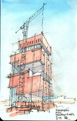 Antwerpen -  MAS (Maarten Ruijters) Tags: museum architecture watercolor sketch drawing sketchbook antwerp modernarchitecture antwerpen croquis zeichnung tekening schets neutelingsriedijk museumaandestroom carnetdeviaje maartenruijters reiseskizze reisschets