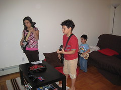 Amanda and Mattheus playing Guitar Hero