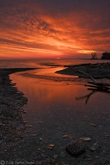 Morning Meeting. (tsechel) Tags: morning ohio lake reflection beach water skyline creek sunrise rocks lakeerie cleveland greatlakes driftwood huntingtonbeach bayvillage clevelandmetroparks cuyahogacounty flickrsbest clemet 9gnd