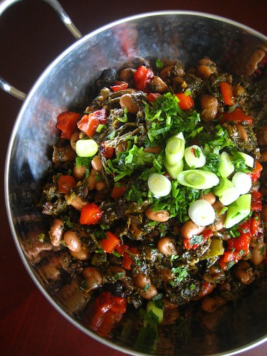 Tbikhit Kale with pinto beans and roasted red pepper