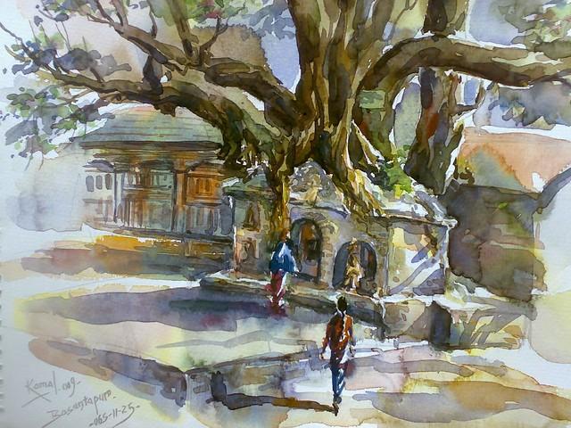 Basantapur huge tree watercolor by Kamal