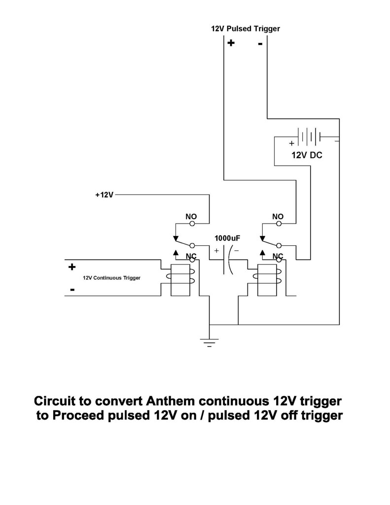 Continuous to pulse on/off trigger converter circuit