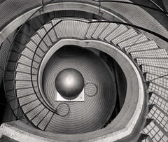 Spiral Staircase I (~ superboo ~ [busy busy]) Tags: sanfrancisco blackandwhite bw monochrome architecture stairs ball spiral pattern down 100v10f tiles staircase embarcadero geometrical curve circular blackdiamond canoneos5d linescurves blackwhitephotos artlegacy bwartaward blackdiamondpremier