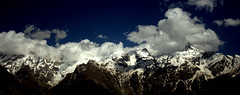 Kinnar Kailash and other peaks but covered (Lonely Monkey82) Tags: blue summer india white snow mountains cold clouds wind culture peaks himalaya himachal himalayas pradesh kinnaur peo kalpa recong