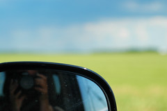 Drive-By Shooting (Jon & Brigid) Tags: minnesota mirror bokeh farm fields dslr brigid mn christianson objectsinthemirrorarecloserthantheyappear brigidchristianson