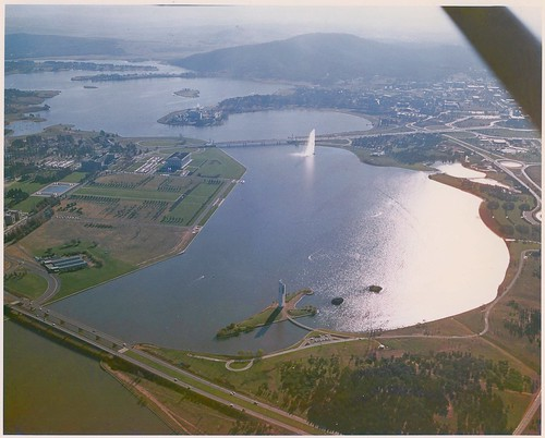 Aerial view of Lake Burley Griffin, Canberra (circa 1970)