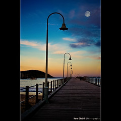 Coffs Harbour Jetty ([ Kane ]) Tags: wood sunset people moon water island lights pier dusk jetty australia da nsw kane centralcoast coffs coffsharbour gledhill kanegledhill obramaestra bananaregion kanegledhillphotography