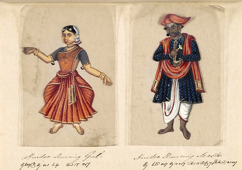 007- Bailarina y maestro de danza hindúes-Seventy two specimens of castes in India 1837