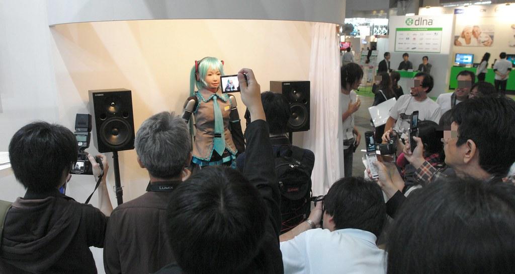 VOCALOID Hatsune-Miku robot (HRP-4C MIMU).