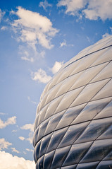 Allianz Arena (Sergiu Bacioiu) Tags: world game building cup sports sport architecture germany munich mnchen bayern football championship team construction exterior place action outdoor stadium soccer famous landmark structure arena german dome spectator deu uefa futuristic attraction bundesliga allianz