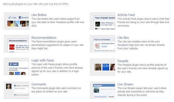 Facebook social plugins page for developers