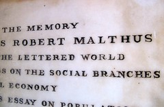 Malthus is buried in the foyer of Bath Abbey