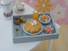 Romantic Waffle Breakfast (Shay Aaron) Tags: food rose dessert lunch miniature handmade teal mini whippedcream polymerclay fimo tiny donut pear romantic orangejuice fruitsalad 12th 112 belgianwaffle dollhouse petit breakfastinbed oneinchscale shayaaron