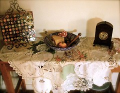 resting place (ngaire.b) Tags: house color colour toys stitch sewing craft felt stitching doily doilies ngairebartlam