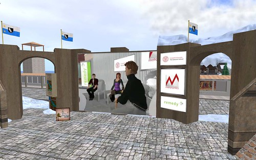 Metanomics host Beyers Sellers asks questions of his guests during a discussion on virtual world cultures.