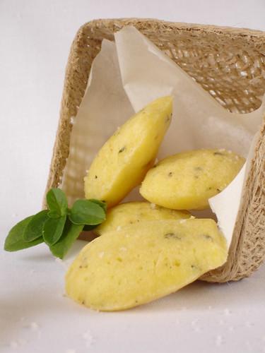 Basil and parmesan madeleines