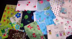 Kawaii Fabric Grab Bag!! (60/365) (Bebopgirl1969) Tags: pink blue red brown white flower tree green bird animal strawberry frog deer fabric kawaii russiandoll