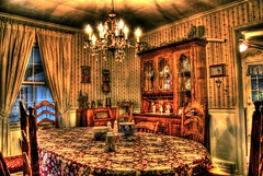 Dining room in HDR (Dave DiCello) Tags: light red orange home kitchen floral yellow photoshop radio lens table fan nikon flickr chairs cs2 room explorer tripod indoors flare dining hutch nikkor hdr chandalier 18mm photomatix flickrexplore d40 tonemapped explored d40x hdrcreativeshots evad310 davedicello
