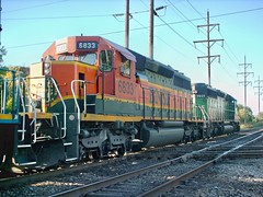 Northbound BNSF Railway light engine movement. Hawthorne Junction. Chicago / Cicero Illinois. Early October 2007.