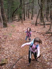 14-Sophie and Iz Climbing Rich Mountain Trail