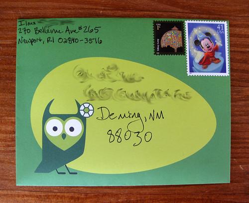 Red Tango owl envelope