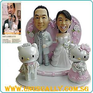 Custom 3D Caricature Wedding Couple With Hello Kitty Figurines