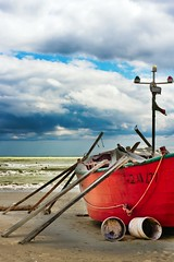 Seascape Italy Senigallia Alone Boat (Gianluca, very busy!) Tags: wood blue red sea italy cloud white storm color beach colors clouds boat barca mare bluesky marche senigallia remi ciccio woodboat theciccio