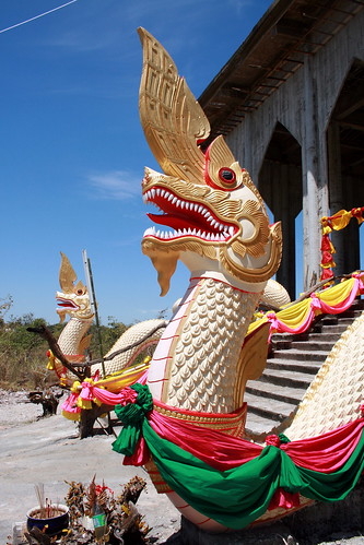 Isaan Village Temple Nagas Serpent