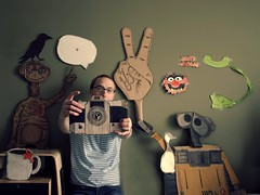 It's the end - Say Cheese! (Boy_Wonder) Tags: camera coffee animal canon monkey peace phone joel goose explore cardboard inside 365 crow muppet peacesign et frontpage walle trp handmadeprop