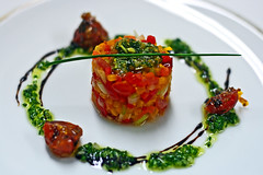 Tartar Of Marinated Vegetables (CristalArt) Tags: red food white green classic colors vegetables yellow digital photoshop canon french photography cuisine restaurant hotel al east experience middle cristal riyadh luxury soe hospitality ksa rosewood faisaliah supershot platinumphoto sarter