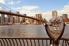 Robot Robot (jami_lee) Tags: ocean bridge sky water brooklyn clouds buildings robot gate manhattan brooklynbridge